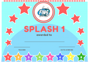 Swimming Lessons - Fins Swim School Splash 1 Certificate